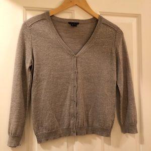 Theory wool blend grey/hint of purple cardigan